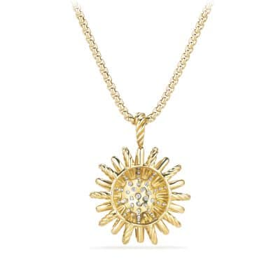 Starburst Medium Pendant Necklace with Diamonds in Gold