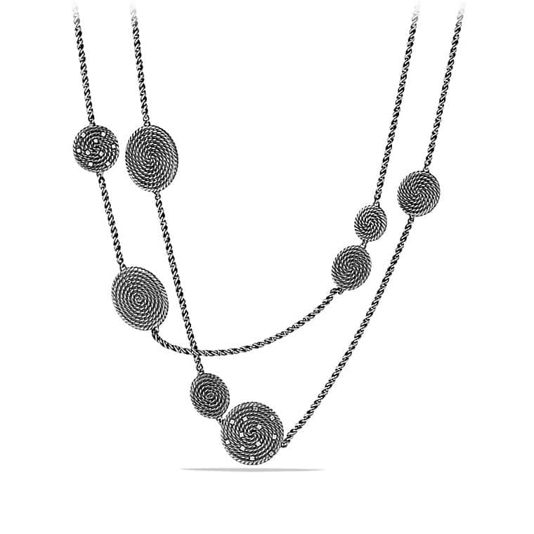 Cable Coil Chain Station Necklace with Diamonds