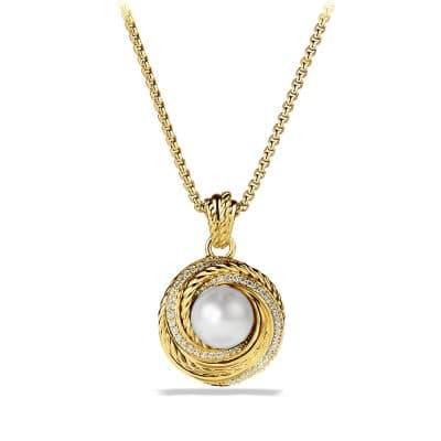 Pearl Crossover Pendant Necklace with Diamonds in Gold