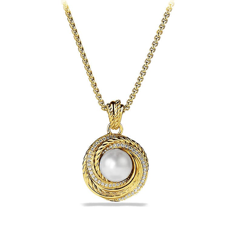 Crossover Pearl Pendant Necklace with Diamonds in 18K Gold
