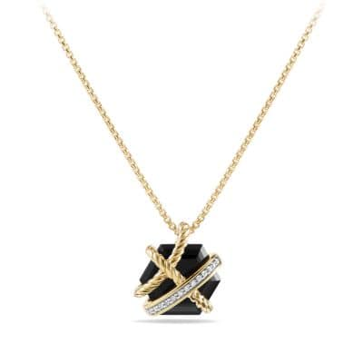 Cable Wrap Necklace with Black Onyx and Diamonds in 18K Gold, 10mm
