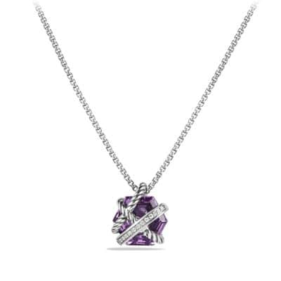 Cable Wrap Necklace with Amethyst and Diamonds, 10mm