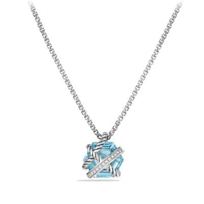 Cable Wrap Necklace with Blue Topaz and Diamonds, 10mm