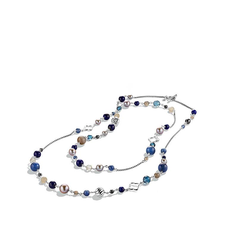 Bead Necklace with Gray Pearls and Lapis Lazuli