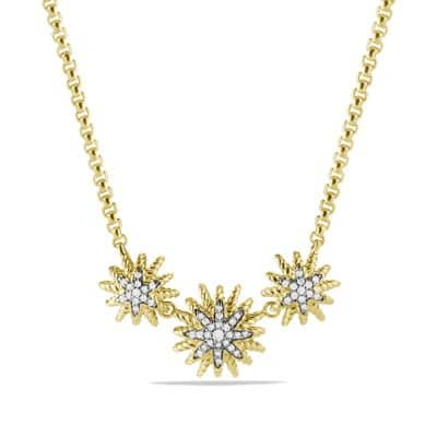 Starburst Necklace with Diamonds in 18K Gold