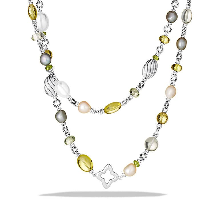 Bead Necklace with Lemon Citrine and Pearls