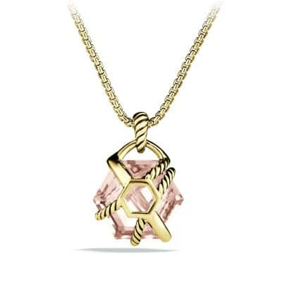 Cable Wrap Pendant Necklace with Morganite and Diamonds in Gold