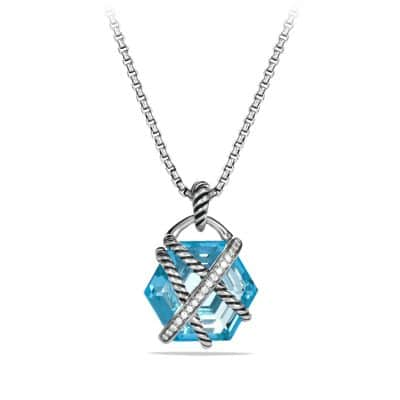 Cable Wrap Pendant Necklace with Blue Topaz and Diamonds