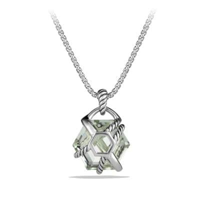 Cable Wrap Pendant Necklace with Prasiolite and Diamonds, 16mm