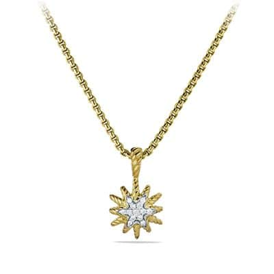 Starburst Mini Pendant Necklace with Diamonds in Gold