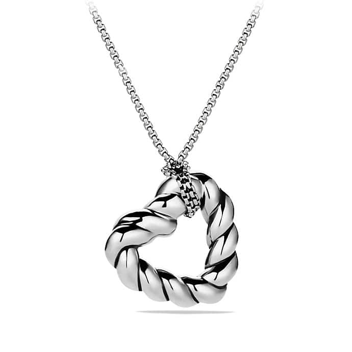 Cable Heart Pendant Necklace