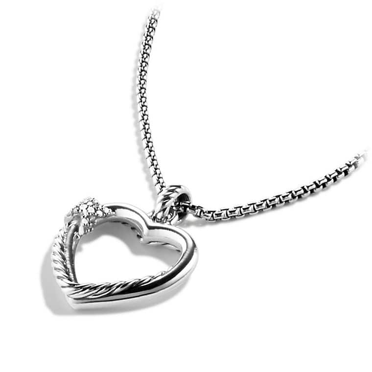 Petite X Heart Pendant Necklace with Diamonds