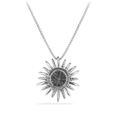 Starburst Medium Pendant Necklace with Diamonds, 26mm