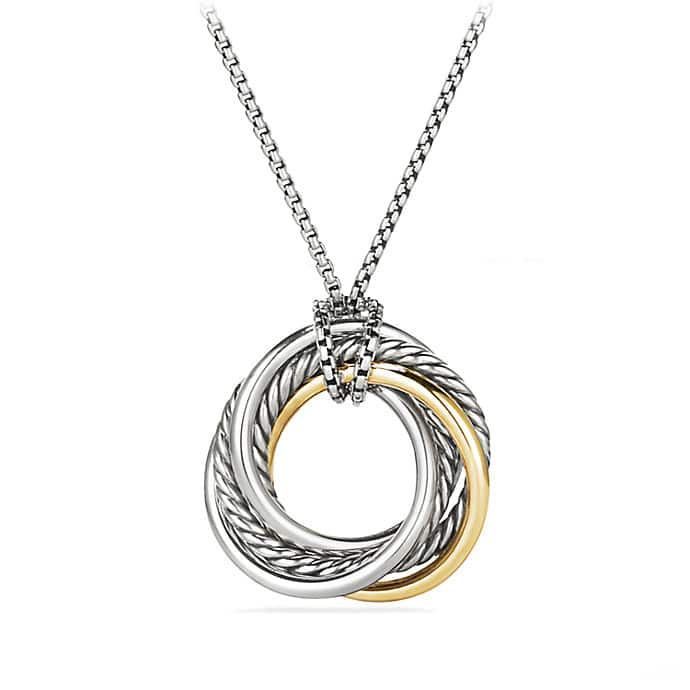 Crossover Small Pendant Necklace with 14K Gold