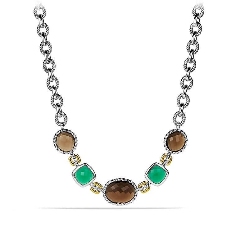 Viridian Necklace with Smoky Quartz, Green Onyx, and Gold