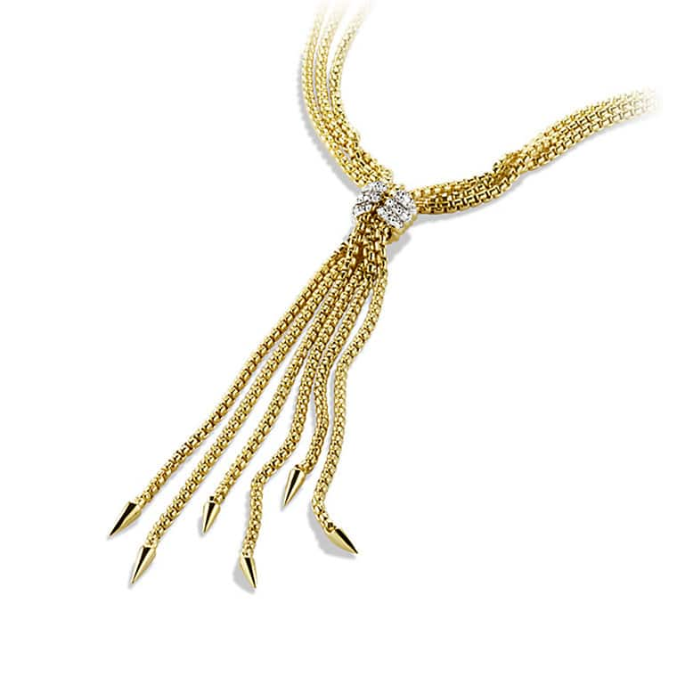 Willow Tassel Necklace with Diamonds in Gold