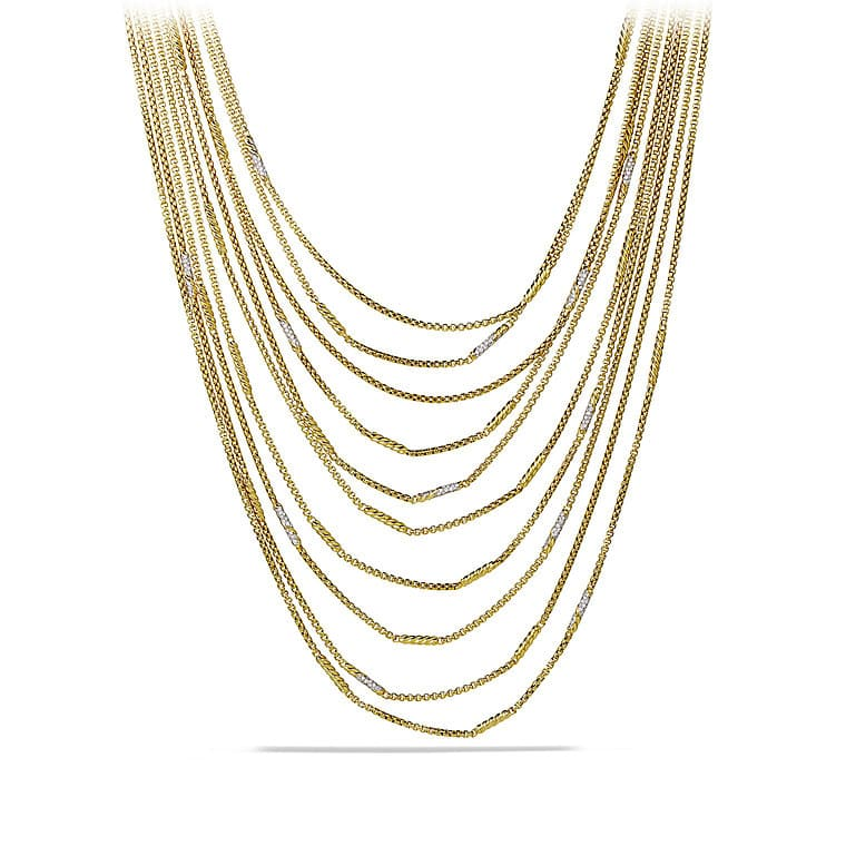 Willow Chain Necklace with Diamonds