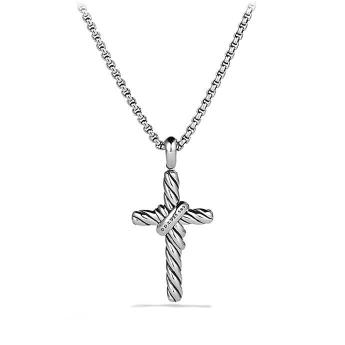 X Cross Necklace with Diamonds and Gold
