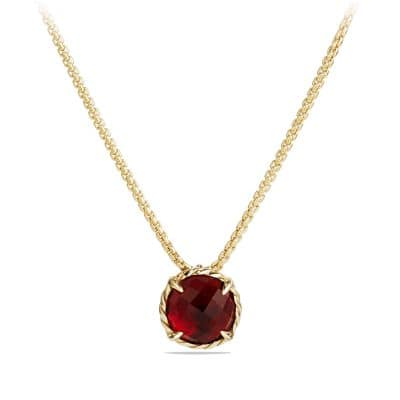 Pendant Necklace with Garnet in 18K Gold