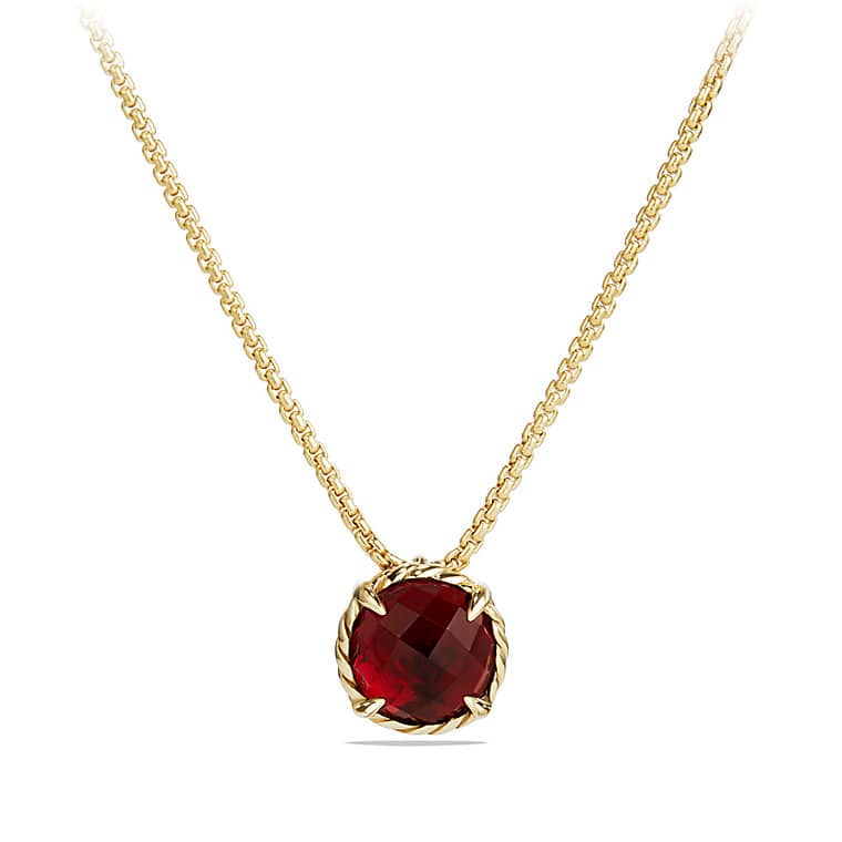 Châtelaine Pendant Necklace with Garnet in 18K Gold