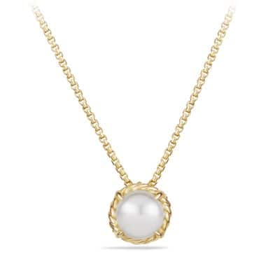 Chatelaine Pendant Necklace with Pearl in 18K Gold