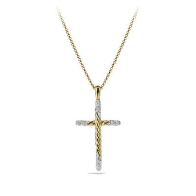 Willow Cross Necklace with Diamonds in 18K Gold