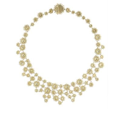 Starburst Mosaic Necklace with Diamonds in 18K Gold