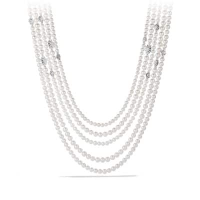Starburst Pearl Multi-Row Necklace with Diamonds