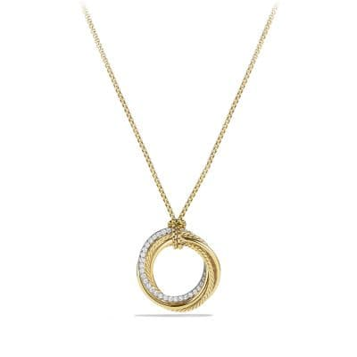 Crossover Pendant Necklace with Diamonds in 18K Gold