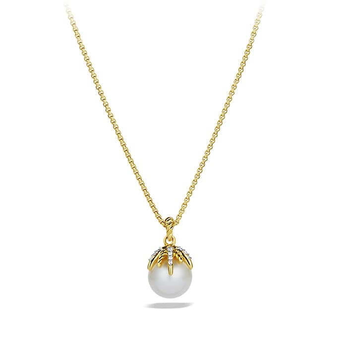Starburst Pearl Pendant Necklace with Diamonds in Gold