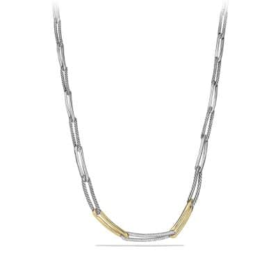 Labyrinth Link Necklace with Diamonds and 18K Gold