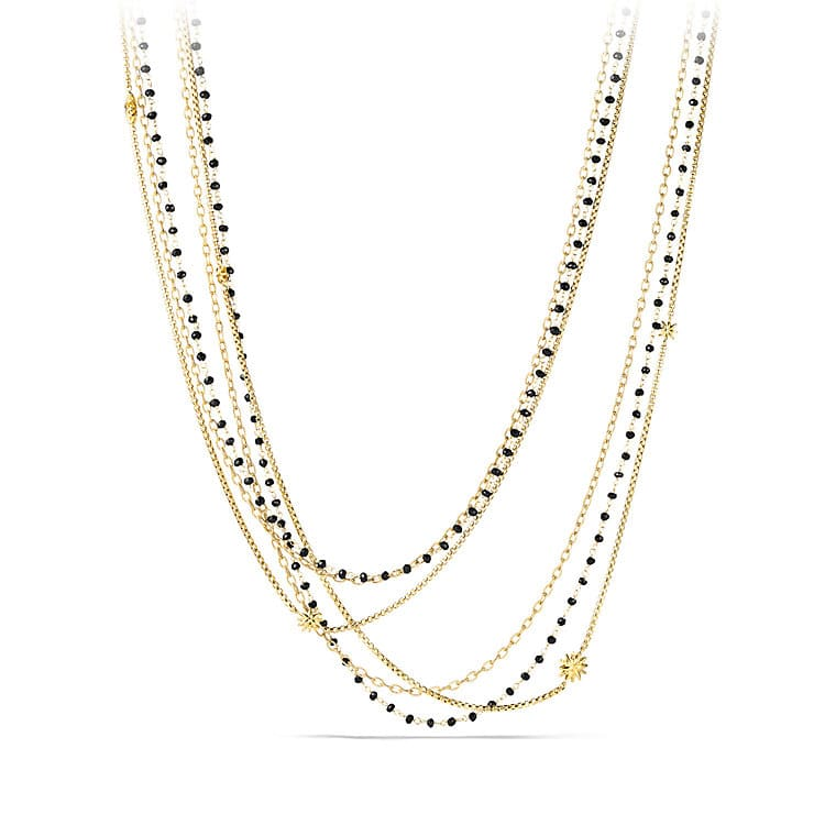 Starburst Chain Necklace with Black Spinel Beads in Gold