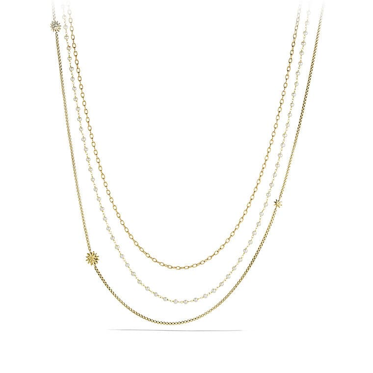 Starburst Chain Necklace with Pearls in Gold