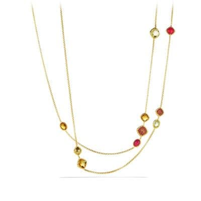 Châtelaine Chain Necklace with Madeira Citrine, Citrine and Orange Sapphires in 18K Gold