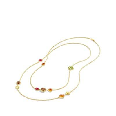 Chatelaine Chain Necklace with Madeira Citrine, Citrine and Orange Sapphires in 18K Gold