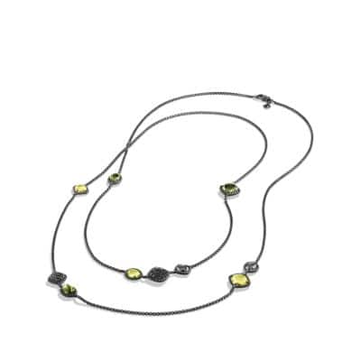 Bijoux Chain Necklace with Lemon Citrine, Hematine and Diamonds