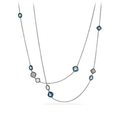 Bijoux Chain Necklace with Blue Topaz, Hampton Blue Topaz and Gray Diamonds