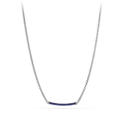 Petite Pavé Metro Chain Necklace with Blue Sapphire