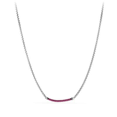 Petite Pavé Metro Chain Necklace with Pink Sapphires