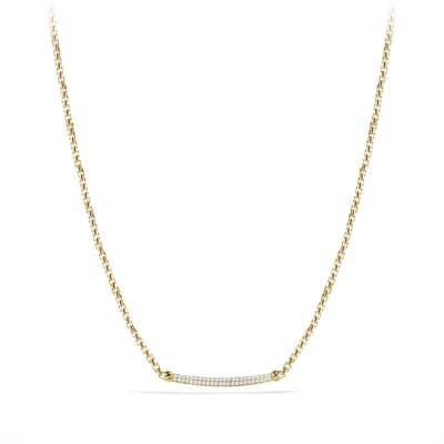 Petite Pavé Metro Chain Necklace with Diamonds in 18K Gold