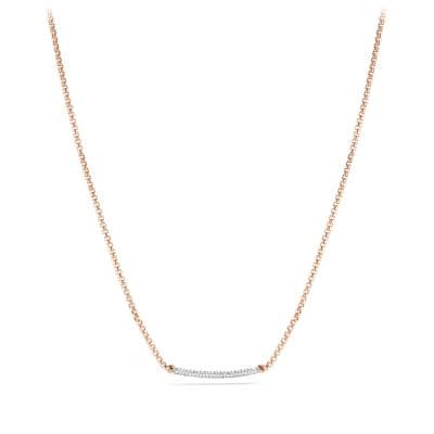 Petite Pavé Metro Chain Necklace with Diamonds in Rose Gold