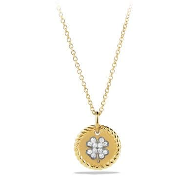 Cable Collectibles Four Leaf Clover Charm Necklace with Diamonds in Gold