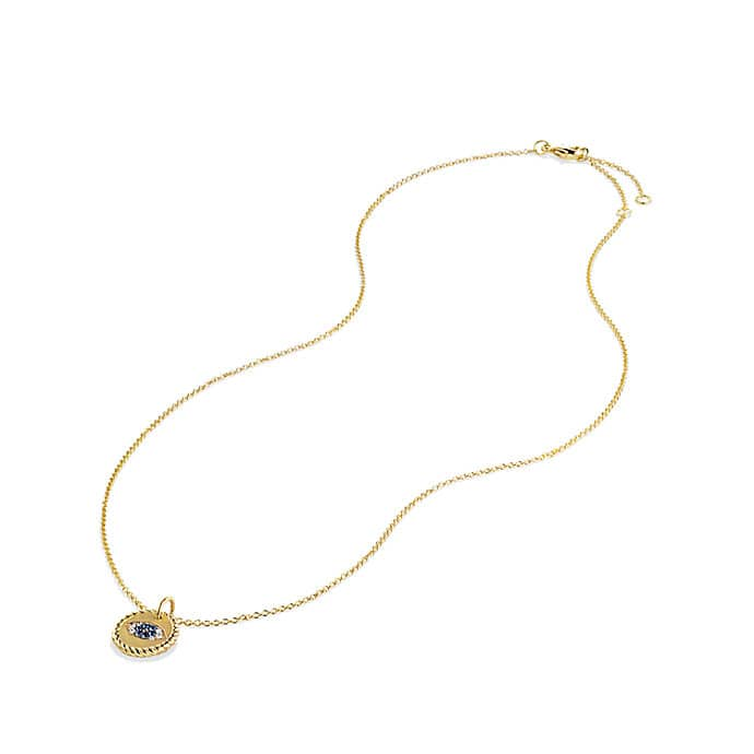 Cable Collectibles Evil Eye Charm Necklace with Blue Sapphire and Diamonds in 18K Gold