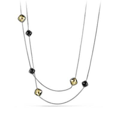 Châtelaine Chain Necklace with Black Onyx and 18K Gold