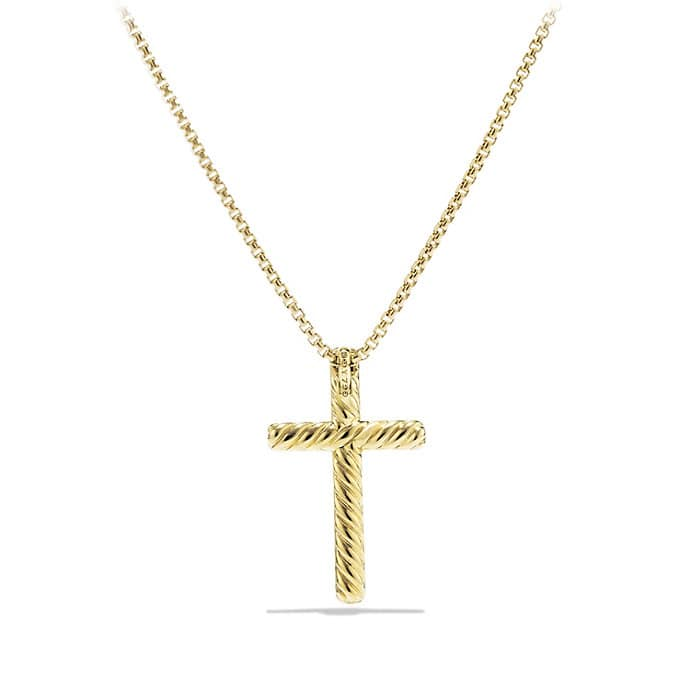 Petite Pavé Cross Necklace with Diamonds in 18K Gold