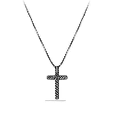 Petite Pavé Cross Necklace with Gray Diamonds