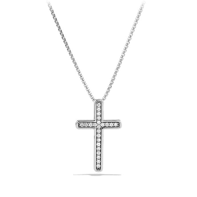 Petite Pavé Cross Necklace with Diamonds
