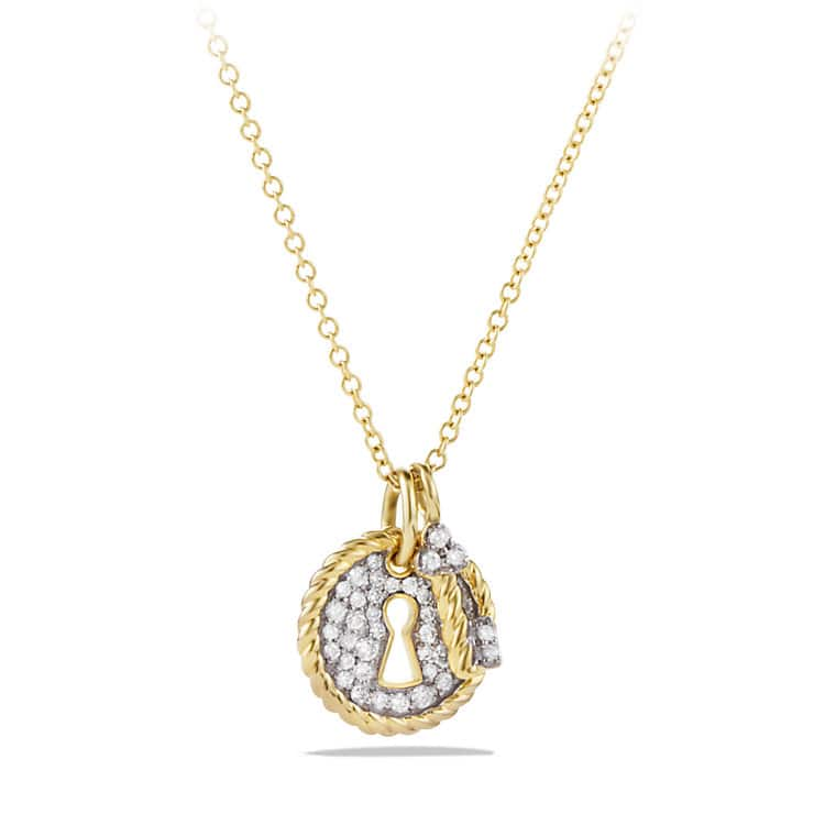 Cable Collectibles Lock and Key Charm Necklace with Diamonds in 18K Gold