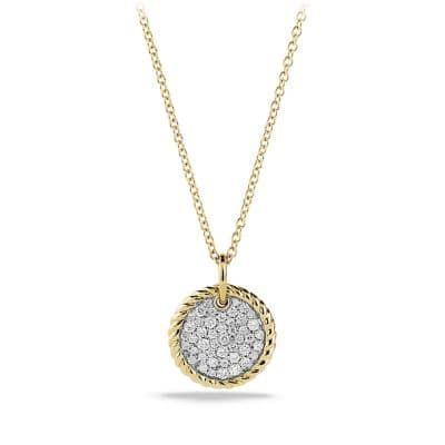Cable Collectibles Pavé Charm Necklace with Diamonds in 18K Gold