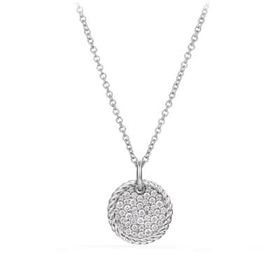 Cable Collectibles Pavé Plate Necklace with Diamonds in 18K White Gold